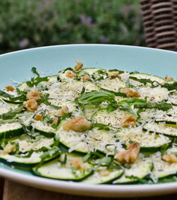 Zucchini Carpaccio Salad with Parmesan, Basil, and Walnuts
