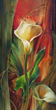 ARTE | PINTURAS MODERNAS - FLORES Paintings by Vie Dunn-Harr | pinturas-al-oleo-de-flores-en-cuadros-modernos