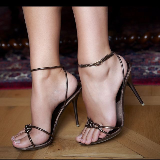 Very Thin Strappy Heels  Nice Feet In Shoes- Sandals -7368