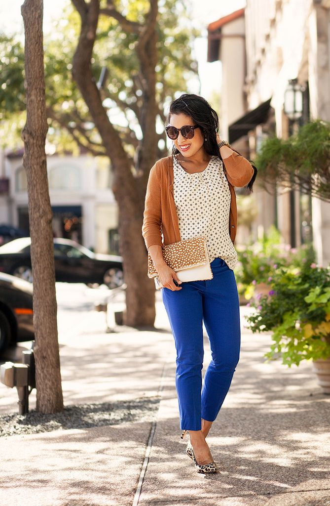cute & little blog | tan cardigan, mikarose bubble print top, banana republic sloan cobalt pants, leopard heels, clare v calfhair foldover clutch | summer fall outfit