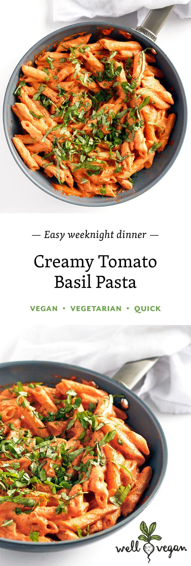 Creamy Tomato Basil Pasta // Vegan + Vegetarian + Easy + Quick