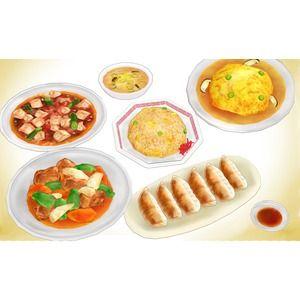 中華スープ、酢豚、天津飯、麻婆豆腐、炒飯、餃子のセットです。 本格的な中華料理ではないです。 大体かじりモーフと拡大縮小モーフ付き。ほとんどの具材にボーンが入ってるので食...