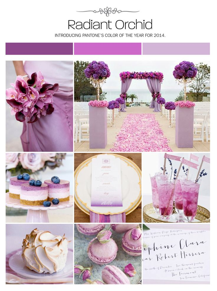 Radiant orchid wedding inspiration board, color palette, mood board via Weddings Illustrated