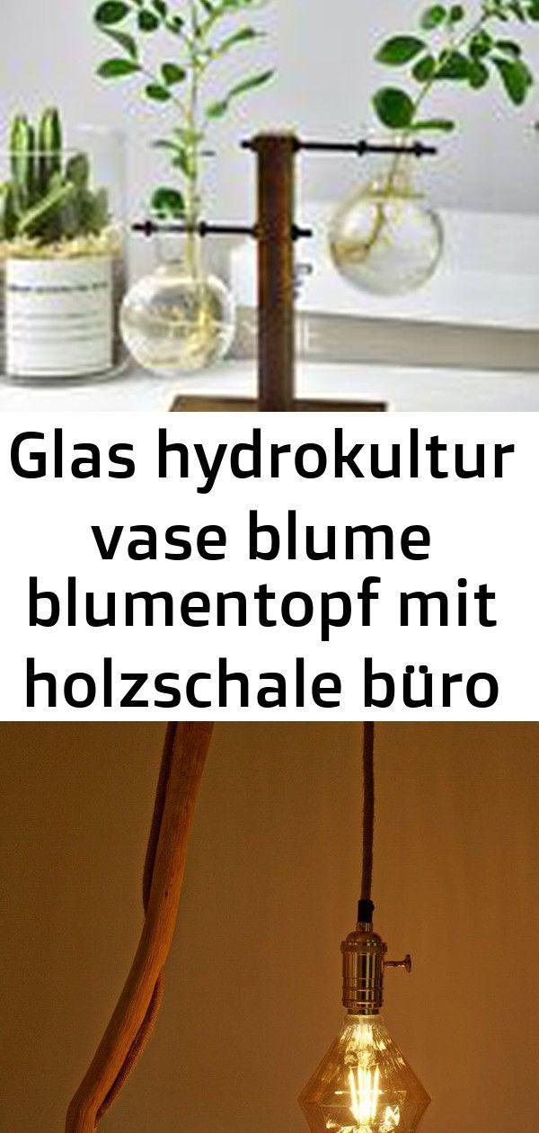 Glaswasserkulturvasenblumen Blumentopf Mit Holzernen Schusselburodekortabellen Vasenvase Dekorationen 14 Dekorationen Glaswasserkulturvasenblumen Holzschale