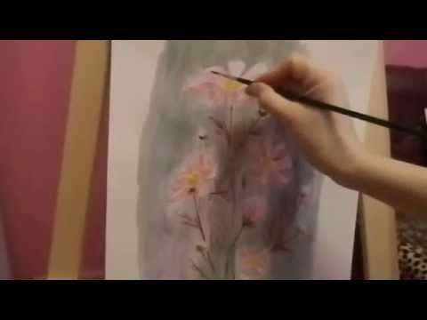 Рисуем цветы космеи без красок
