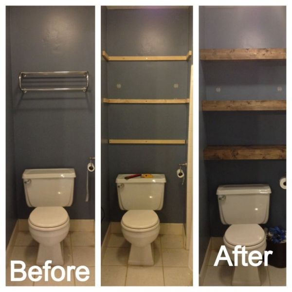 Updating bathroom shelving by summer