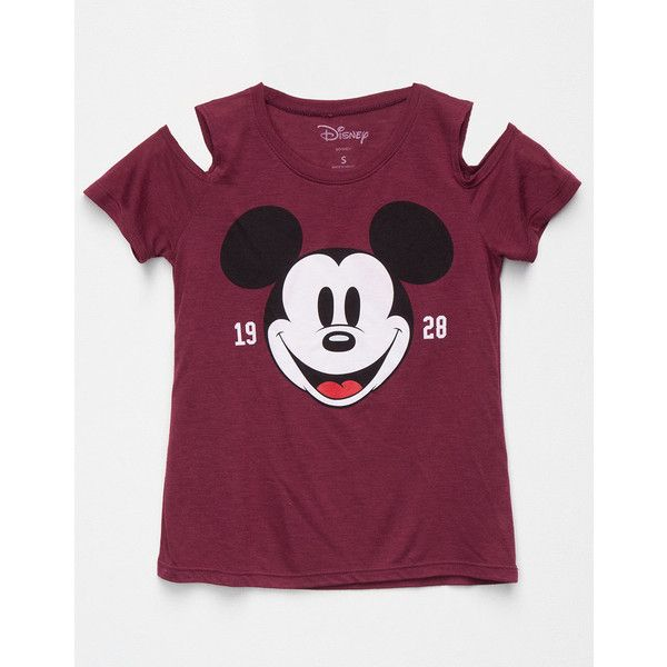 0f650748f5 Disney Mickey Mouse Girls Cold Shoulder Tee ($20) ❤ liked on Polyvore  featuring tops