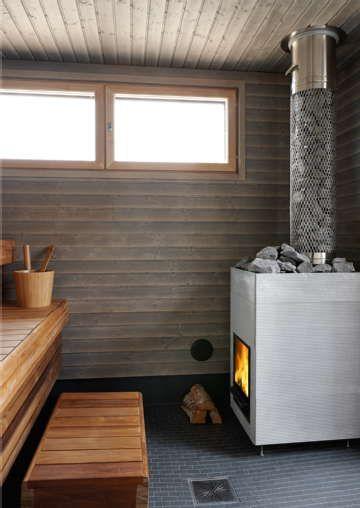 Sisustus - sauna - kookas, selkeämuotoinen kiuas
