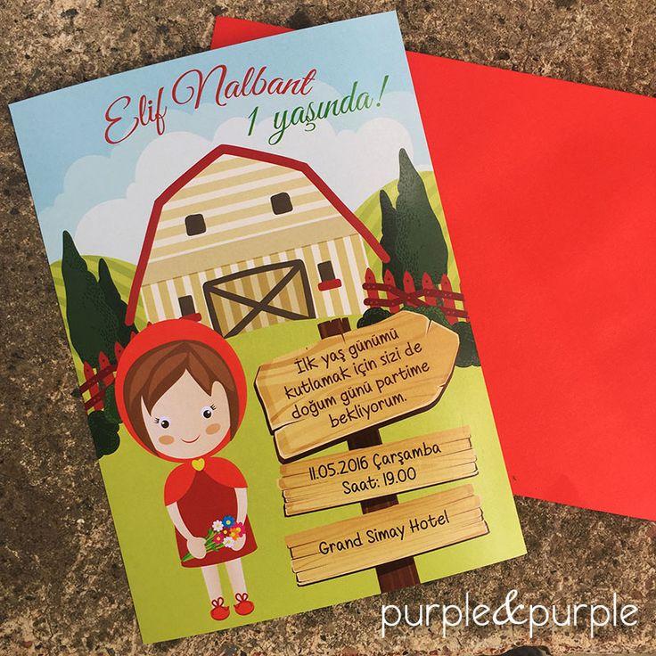 Kırmızı Başlıklı Kız | Doğum Günü Davetiyeleri | 1 Yaş Doğum Günü Partisi | Birthday Invitations | Little Red Riding Themed Birthday