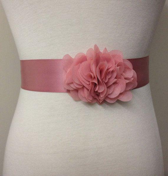Bridesmaid Sash-Dust Pink Sash-Bride Belt-Dress Sash-Flower Sash-Bridal Sash-Ribbon Belt-Plain Sash-Dust Pink Ruffle Chiffon Flower Sash