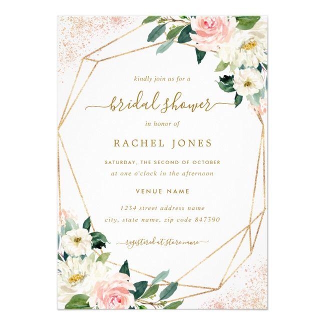 Create Your Own Invitation Zazzle Com Gold Bridal Shower Invitations Floral Bridal Shower Invitations Bridal Shower Invitation Wording