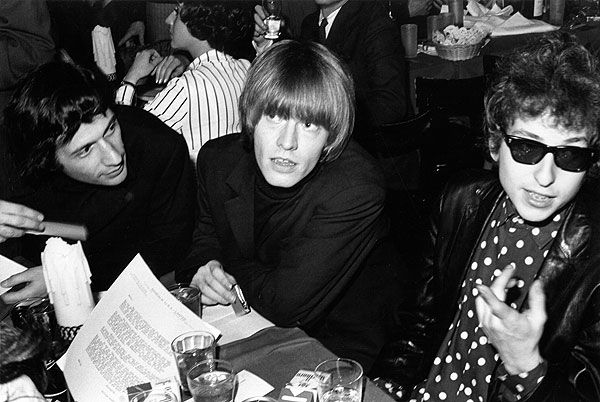 Brian Jones of the Rolling Stones and Bob Dylan attend a release party Brian Jones and Bob Dylan 1965 Brian Jones of the Rolling Stones and Bob Dylan attend a release party for the Young Rascals at the Phone Booth nightclub in New York City in November, 1965.    Read more: http://www.rollingstone.com/music/pictures/photos-70-photos-of-bob-dylan-on-his-70th-birthday-20110524/1965-0515641#ixzz2r2nLBGrR  Follow us: @Michelle Rolling Stone on Twitter | RollingStone on Facebook