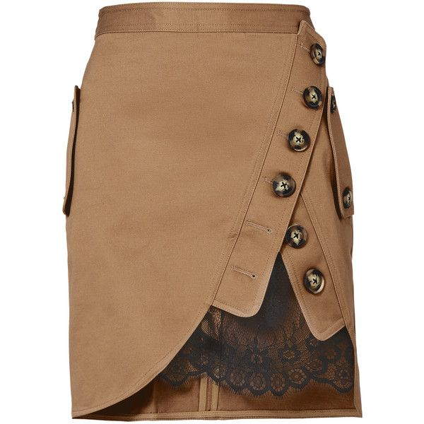 Lace Utility Mini Skirt ($375) ❤ liked on Polyvore featuring skirts, mini skirts, short mini skirts, short frilly skirt, button skirt, frill skirt and short ruffle skirt