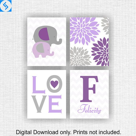 Set of 4 5x7 Instant download Elephant Love por myfavoritedecor