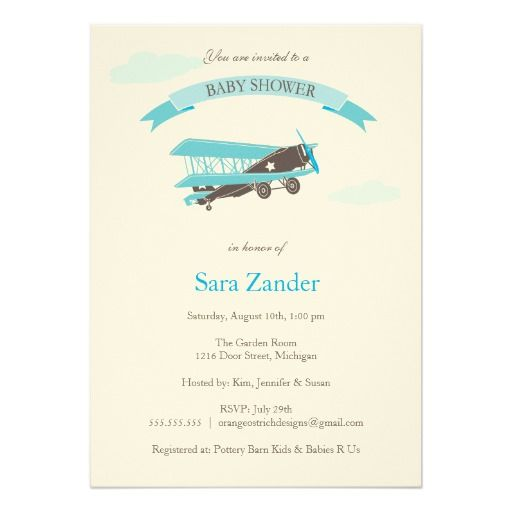 Airplane Baby Shower Invitation   Blue And Brown