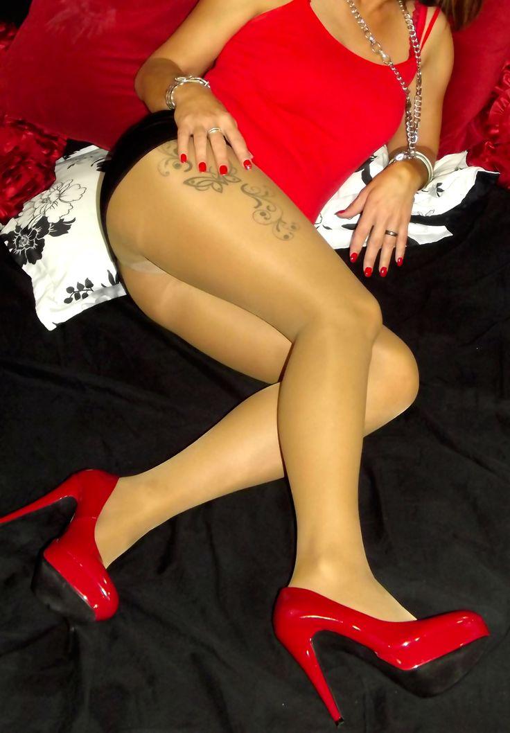 My leggs tan pantyhose red heels