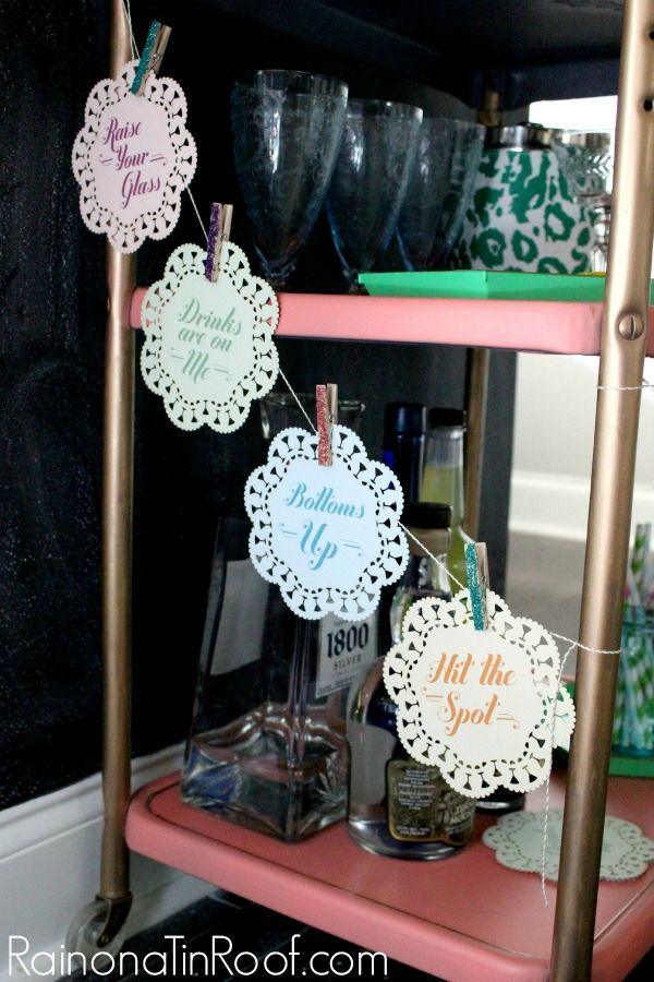 Easy Access Coasters! More bar cart ideas here too! Bar Cart Styling via RainonaTinRoof.com