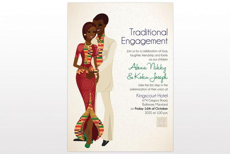 Cultural Wedding Invitations: Ghana Traditional Wedding Invitation Card
