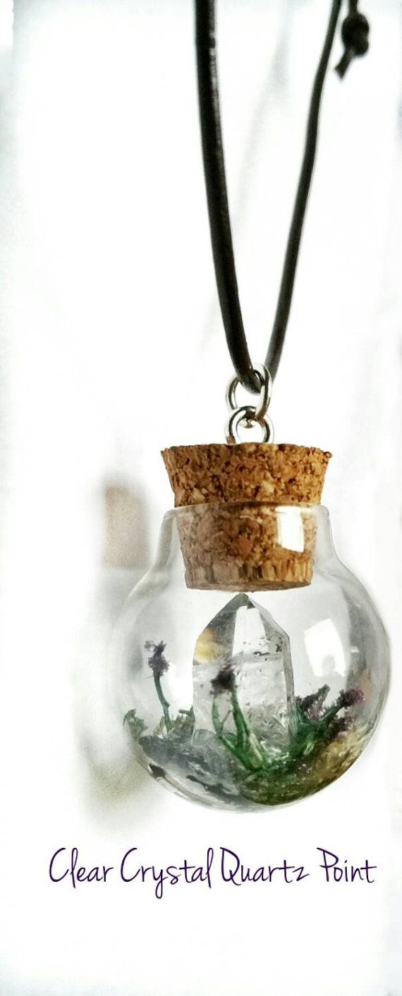 Crystal Terrainium. Clear crystal quartz point necklace, diy vial, glass globe, plant terrainium, Christmas diy, christmas gift diy, Tiny jar. Mini glass bottle. Healing crystals and stones. Check out this item in my Etsy shop https://www.etsy.com/listing/254467609/crystal-terrainium-necklace-glass-globe