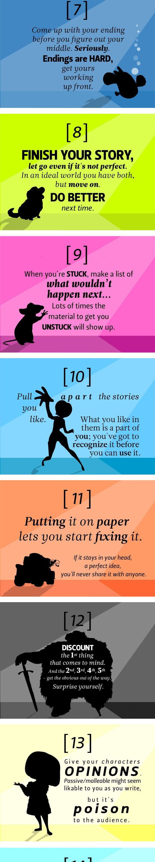 Technically these are screenwriting tips but they can apply to writing novels too