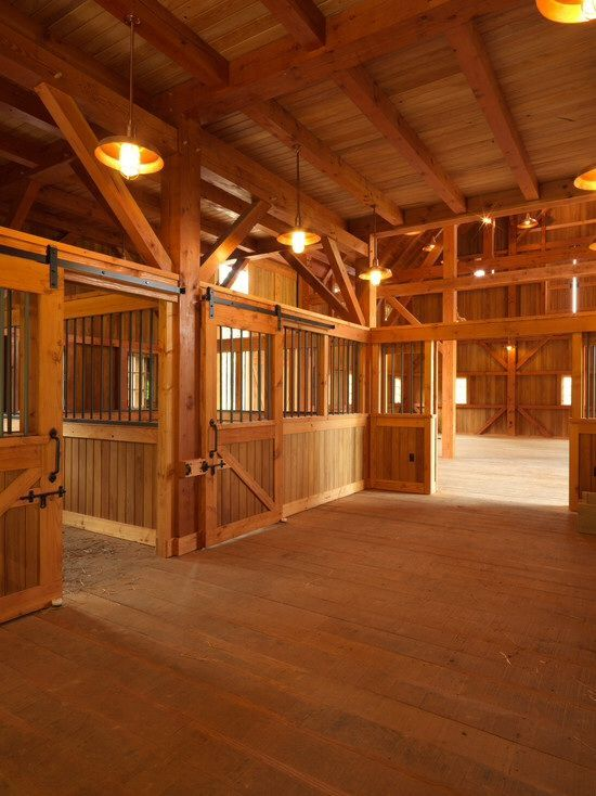 Pretty stable All the wood looks so fresh  cowgirl up  Horse barns Barn stalls Horses