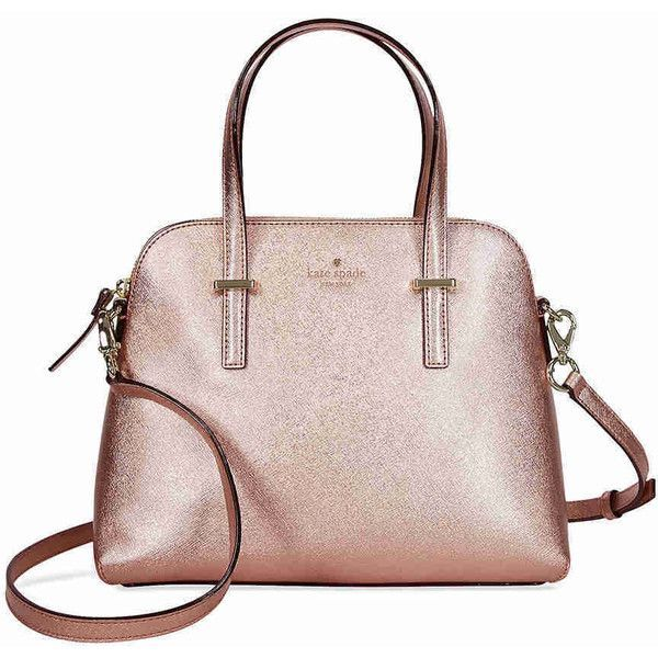 Kate Spade Cedar Street Maise Leather Dome Satchel - Rose Gold ($200) ❤ liked on Polyvore featuring bags, handbags, leather purses, kate spade purses, leather satchel, genuine leather purse and pink handbags