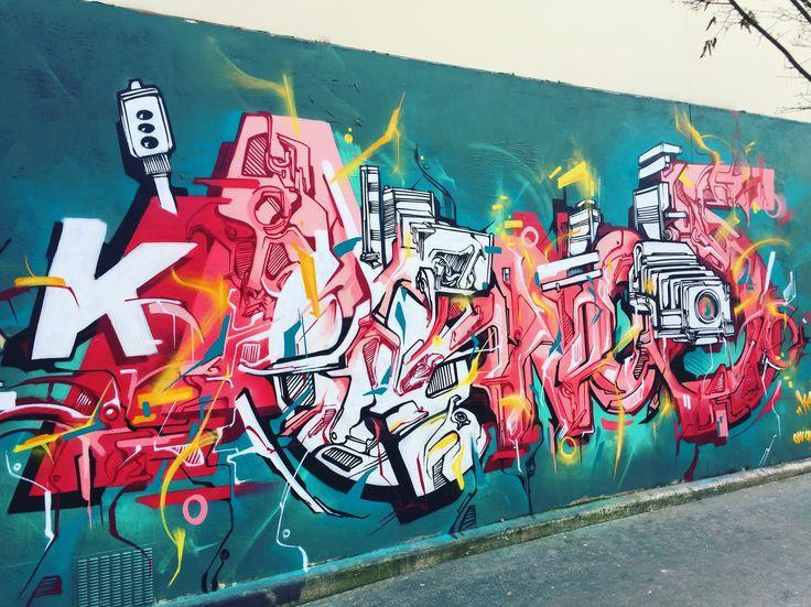 #kanos by @ikanografik #ikanografik #odv #odvcrew #cbs #cbscrew #onoffcrew #streetart #graff #spray #bombing #wall #sprayart #instagraff #urbanwalls #tv_streetart Rue de la Fontaine au roi #paris