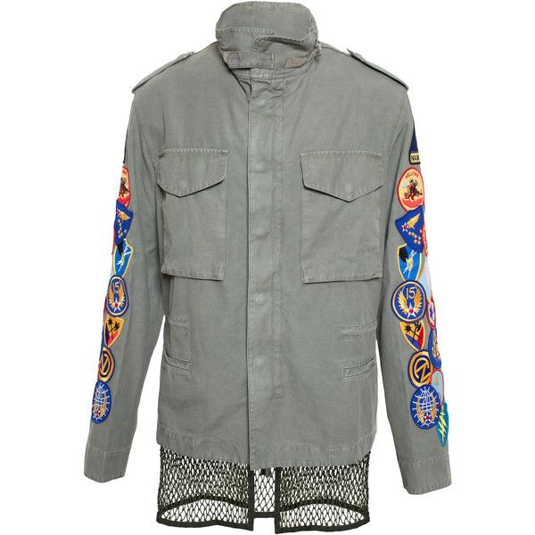 OFF WHITE Military Jacket with Crest Embroidery ($1,005) ❤ liked on Polyvore featuring men's fashion, men's clothing, men's outerwear, men's jackets, outerwear, mens vest jacket, mens vest outerwear, mens military jacket, mens military style jacket and mens military field jacket