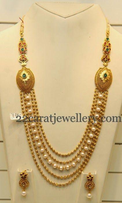 Jewellery Designs: Simple Beads Haram Looks Heavy