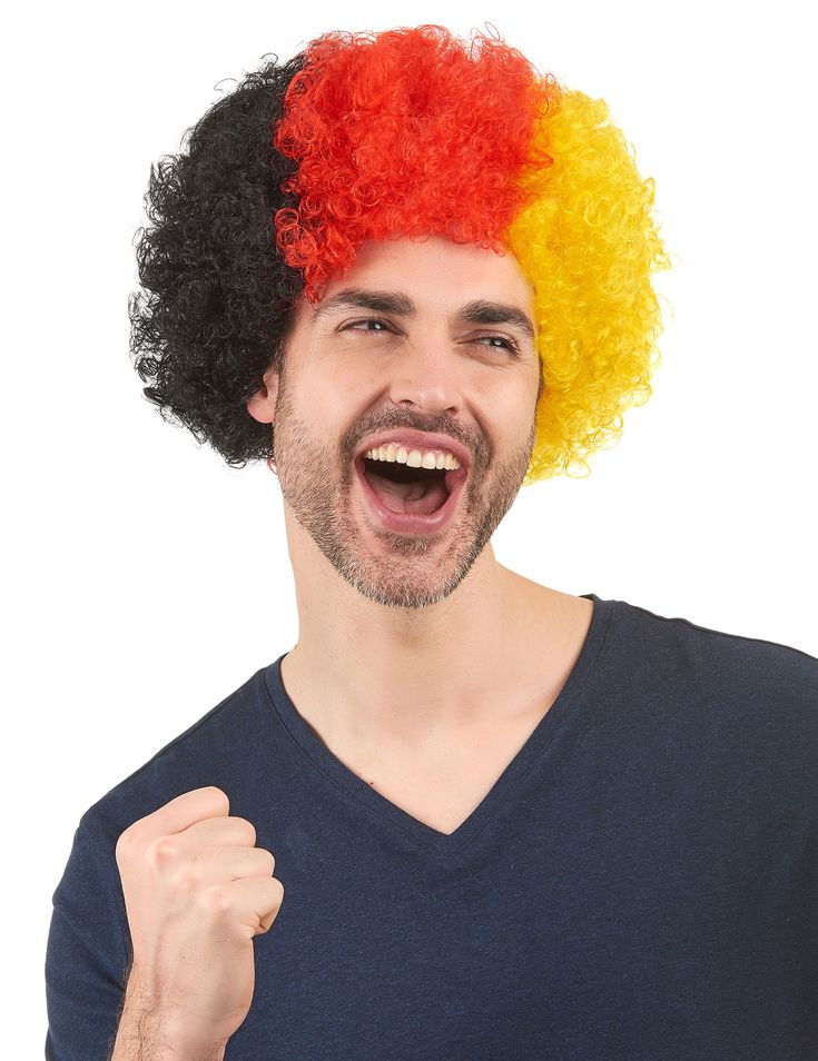 Peluca de hincha Alemania adulto: Esta peluca de hincha para adulto es tipo afro muy rizada. Es de los colores de la bandera alemana : negro, rojo y amarillo.¡Este accesorio es perfecto para mostrar en las tribunas de un...