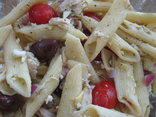 Greek Chicken Pasta Salad by WendysKnitch, via Flickr. Closest to the Costco salad!