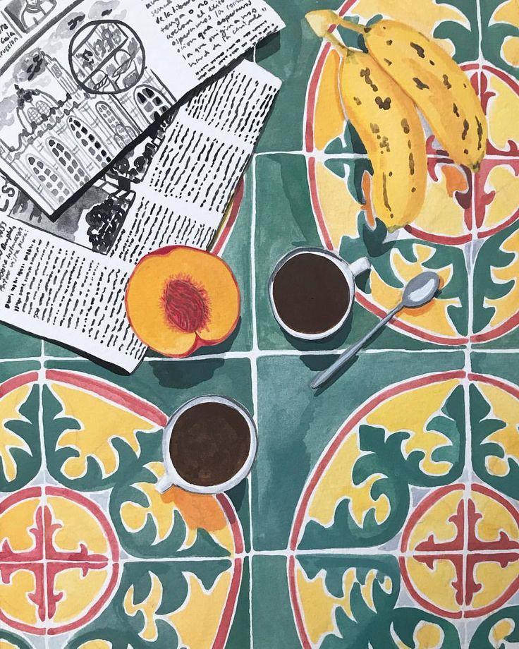 Illustration – Carreaux de ciment, café et abricot / Tiles, coffee and apricot …