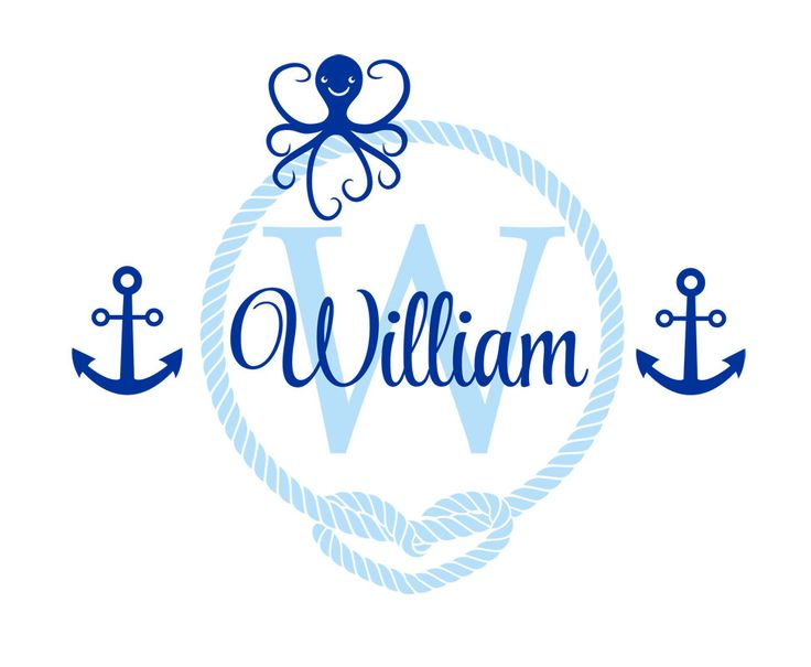 Nautical Sailor Themed octopus Wall Stickers For Kids Room Personalized Boys Name Anchor Vinyl Nursery Wall Art Decals ZA290