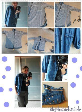 customisation chemise en jean, couper une chemise en jean