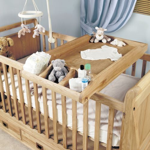 Amelie Oak Cot-Top Baby Changer #home #furniture #oak #wood #interior #decor #design #bedroom #cot #babychanger
