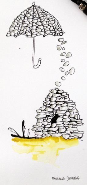 www.artunika.dk / www.artunika.com Stenfald - 25 x 10. En original kunst tegning af kunstner Marianne Stenberg.  Kunstner Marianne Stenberg arbejder primært på papir, hvorpå hun skaber tusch-tegninger med kalligrafi-pen og er kendt for hendes store tegninger hvor der fuldstændig åbnes op...
