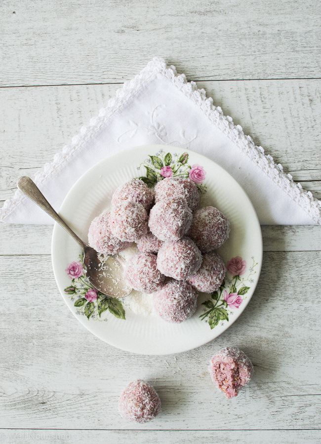 "Want to break the chocolate overload this Easter? Why not try Raspberry Coconut Bliss Balls or simply ""Easter Bunny Tails""."