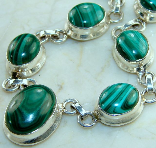Malachite Necklace : Vintage Malachite Gemstone Silver Necklace