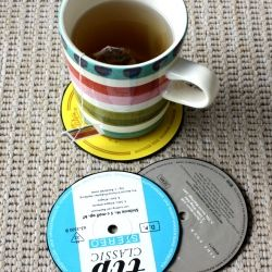 How to make cool coasters from old vinyl records.