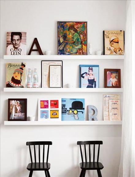 Vill man exponera sina finaste böcker är en tavellist ett bra alternativ – perfekt i trånga utrymmen som en  hall eller korridor.