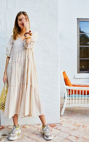 3fa41c135f Celestial Skies Midi Dress - Natural Long Sleeve Boho Midi Dress - Boho  Dresses - Boho Midi Dresses - Vacation Dresses - Summer Dresses