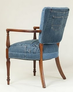 chair + recycled jeans