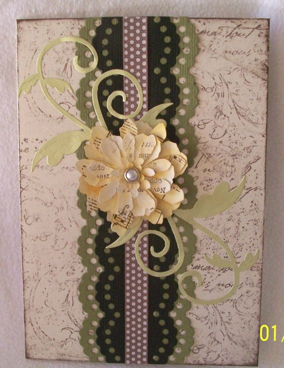 Romanticly styled blank card with a 3D flower accent. by KayaDoll