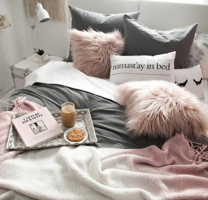 "Dormify dorm room inspo!! Love the dusty pink and charcoal gray! That bed tray is a must have! And I know what throw pillows I need to snag! ""Namast'ay in bed"" and the closed lashes pillow!! #DormRoomInspiration #College ~eh"