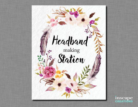 Boho Baby Shower Headband making Station Sign Bohemian Baby