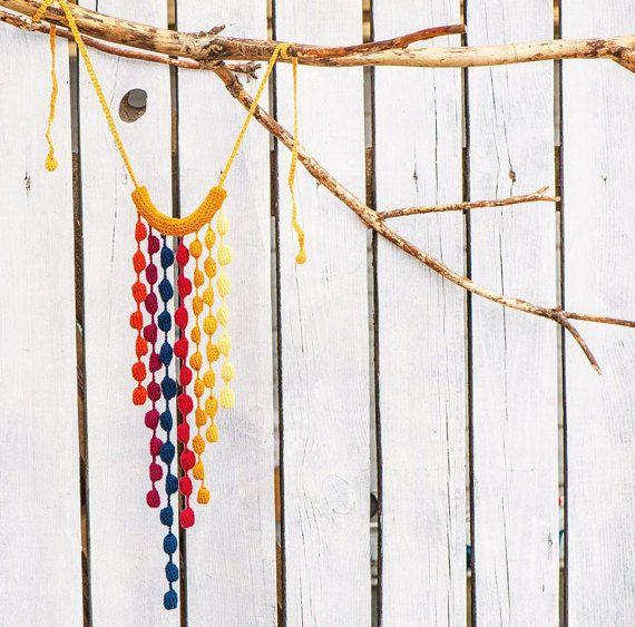 Купить вязаные украшения этно украшения ювелирные изделия дизайнерские бусы - вязаное украшение
