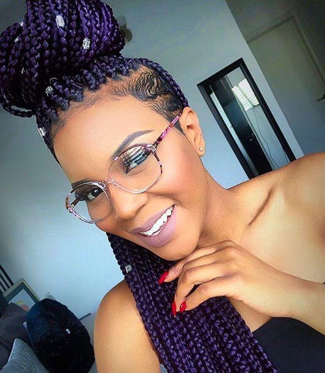 HAIRSPIRATION| Love these purple #boxbraids on @lolaoj  Love the #undercut ✂️ #voiceofhair