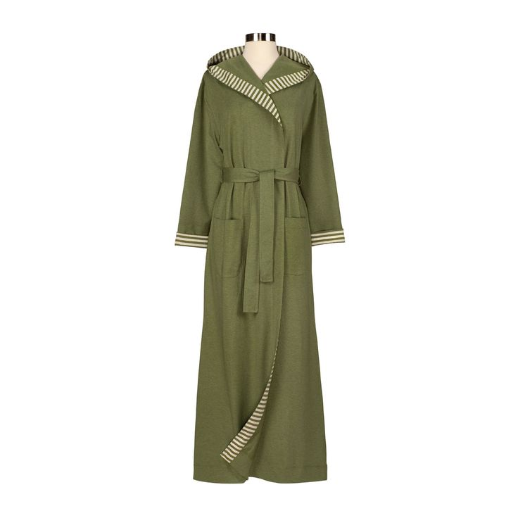Kick back and relax with this sage organic robe. This hooded robe features two front pockets and an attached belt for covering up. Constructed from USA Fair Trade organic cotton, this jersey knit robe offers a traditionally classic fit.