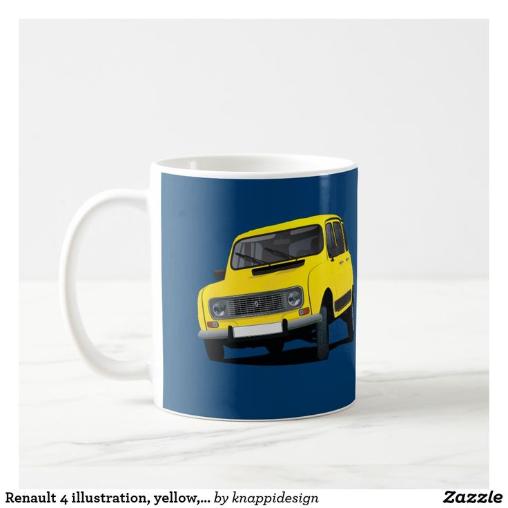 Renault 4 illustration, yellow, diy coffee mug.  #renault4 #renault #classiccars #60s #70s #french #france #automobiles #carillustration #illustration #coffeemug #renaultmug #kaffemuggar #kahvimukit #mukit #