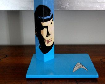 Mr. Spock, Star Trek, Handcrafted, handpainted wooden table lamp. Geeky Gift, Gift for Him.